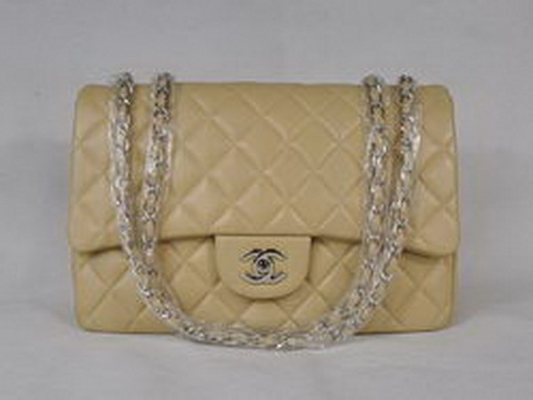 7A Replica Chanel Jumbo A28600 Apricot Lambskin Leather with Silver Hardware